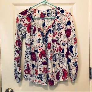 Relaxed Embroidered white print top